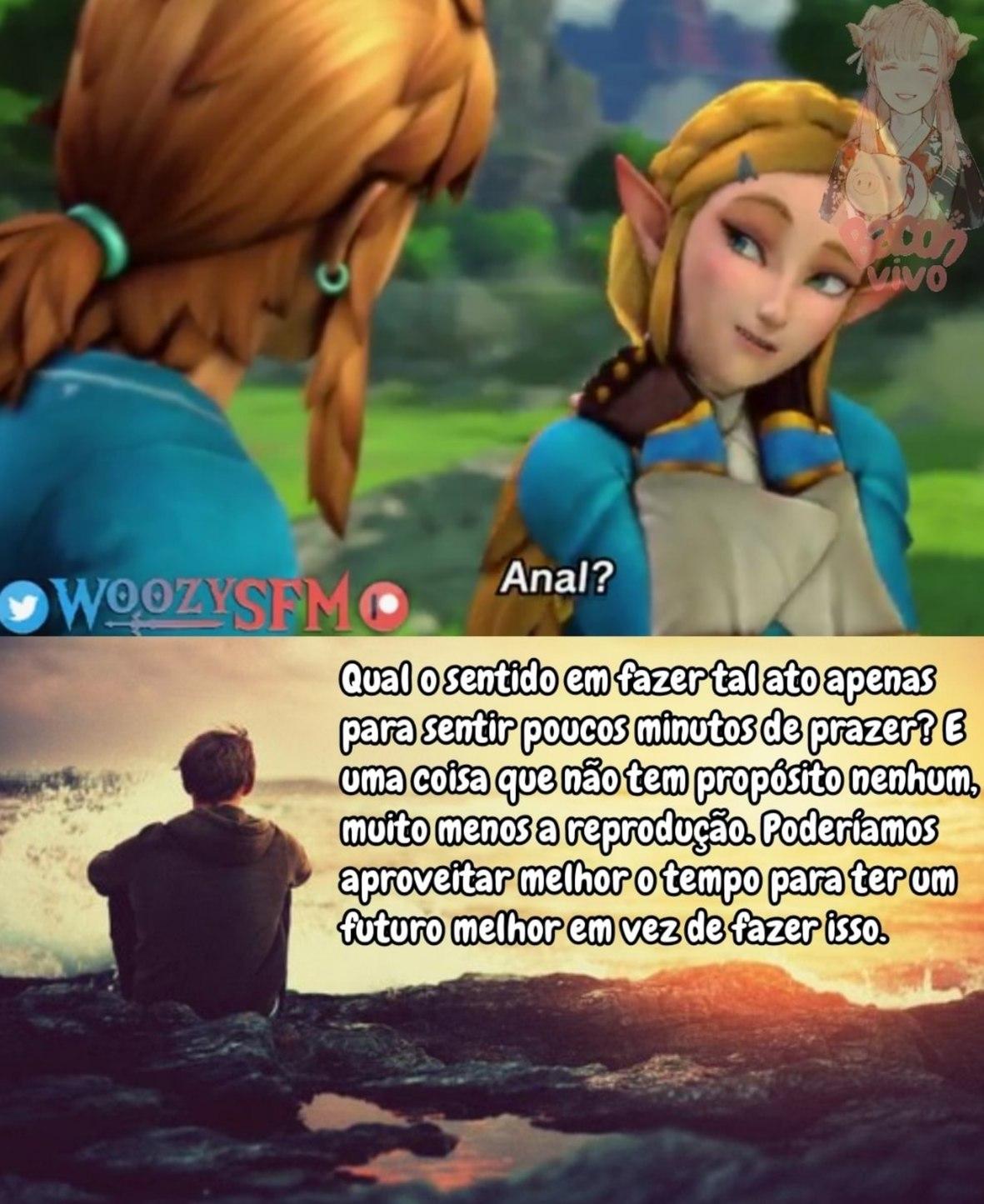 Não sei de qual jogo é esse, só sei que é uma cena de diálogo do link com essa aí que eu não sei quem é. - meme