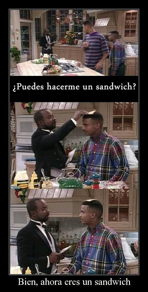 Comenta de que quieres tu sándwich - meme