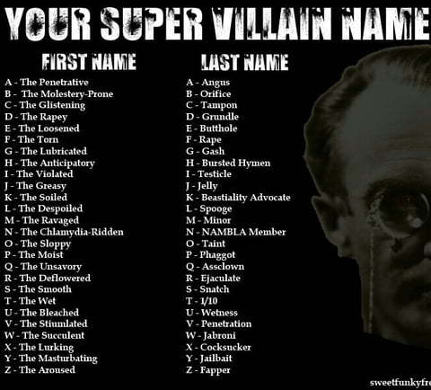 Tell me you super villain name in comments - meme