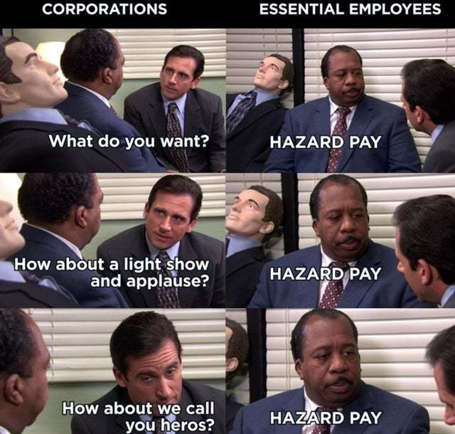 Corporations vs essential employees - meme
