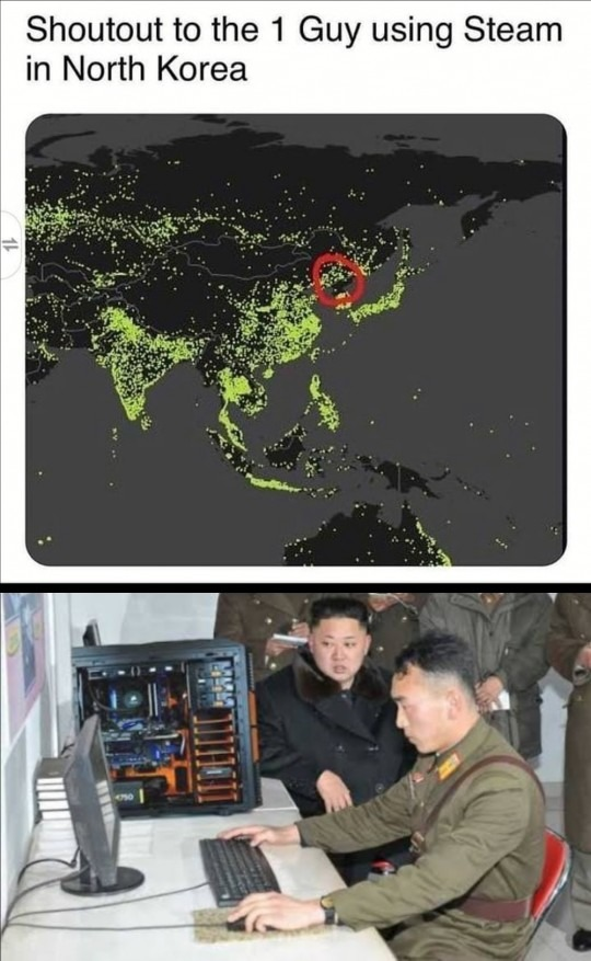 1 guy using Steam in North Korea - meme