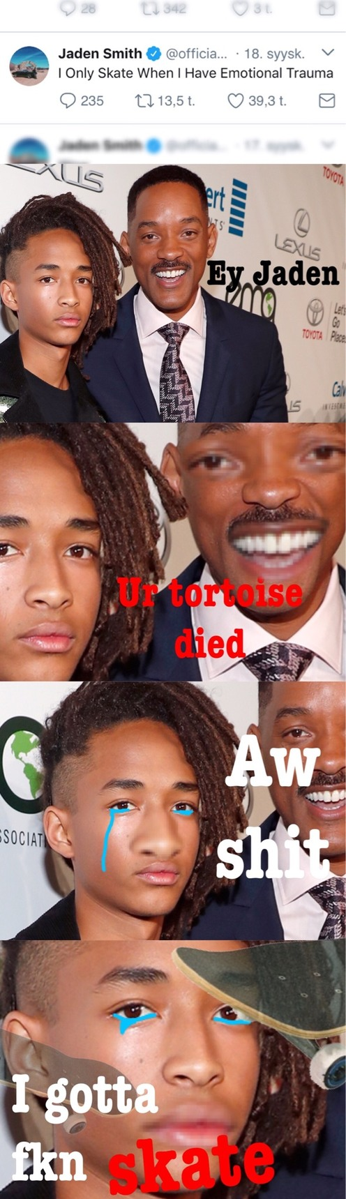Pretty messy meme, but I just thought it was cool that Jaden is still doing these weird ass tweets
