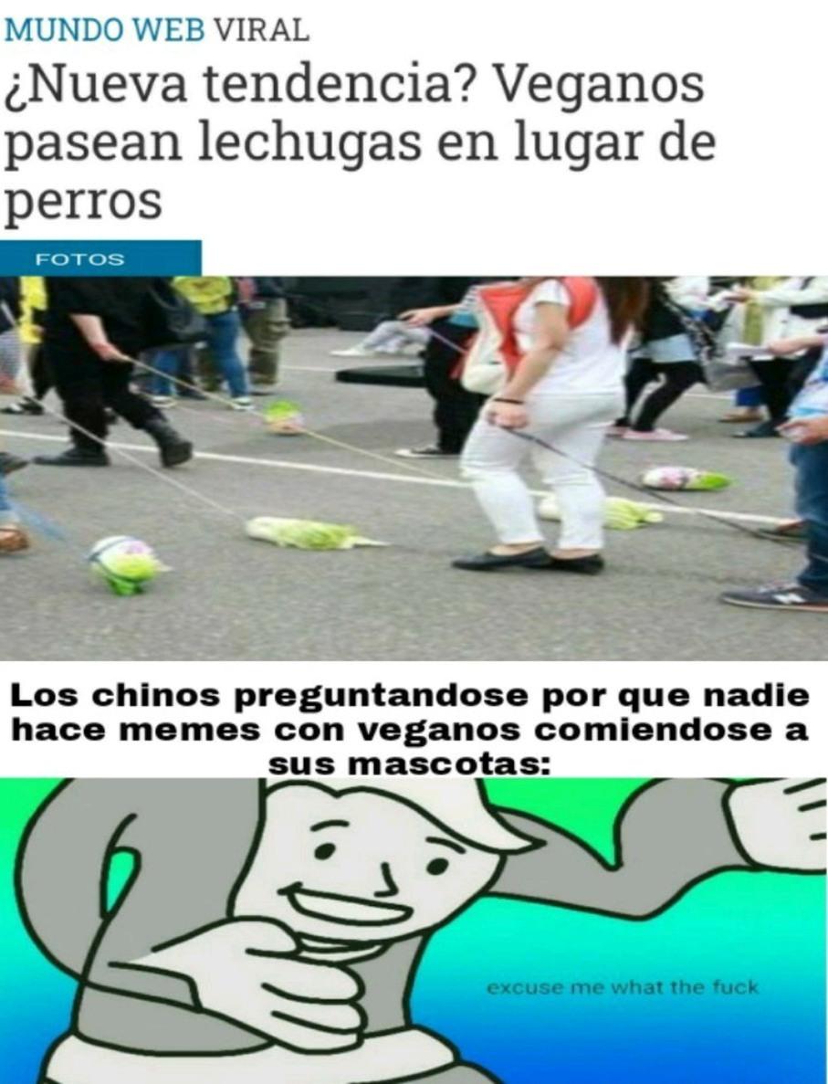 Hora de ser vegano y chino - meme