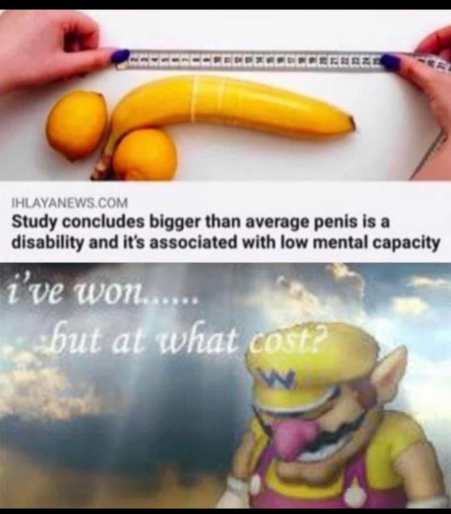 Pode ser repost do ano passado sei la. Tradução: estudo conclui que pênis maior que a média é uma deficiência e está associada a baixa capacidade mental - meme