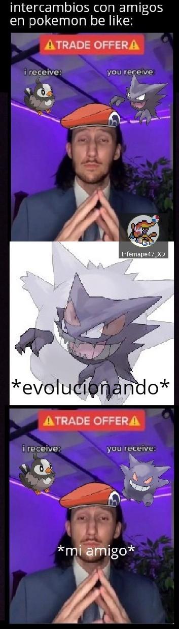 Evoluciones por intercambio - meme