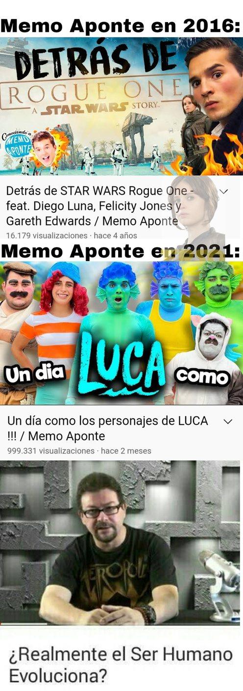 Encontré el primer video de pura casualidad, se que ya tiene tiempo que hizo el cosplay de Luca pero lo pongo porque es de los que más cringe me ha dado - meme