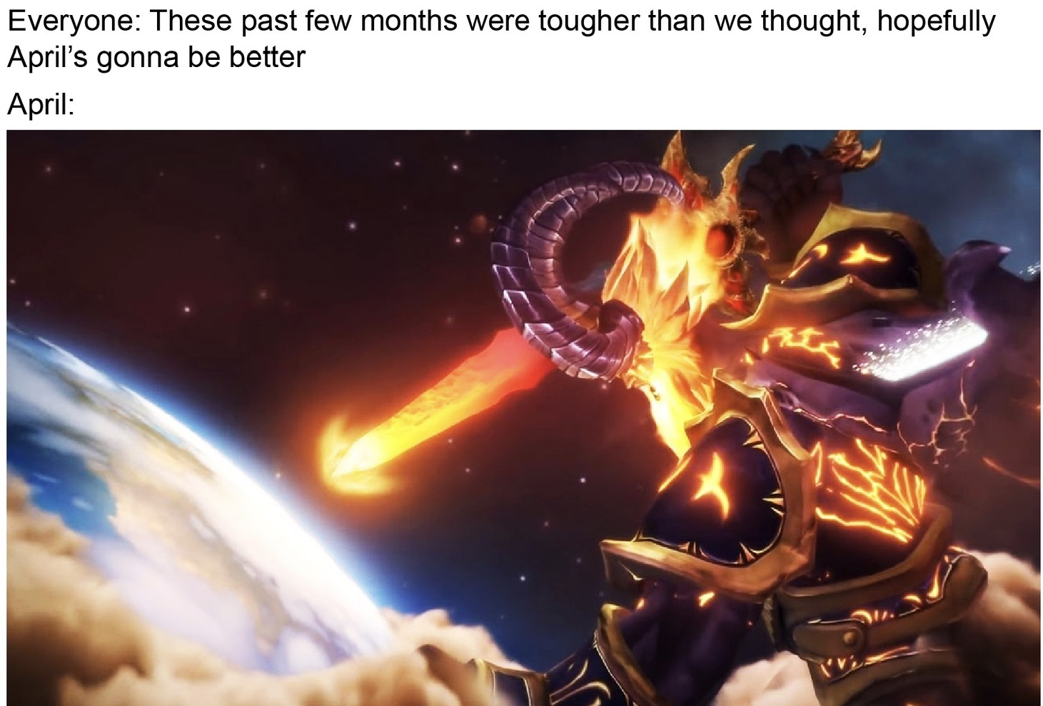 Everybody gangsta till the Legion starts invading earth - meme