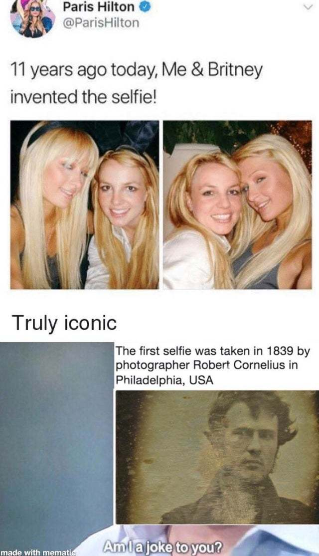 Paris and Britney did not invent the selfie - meme