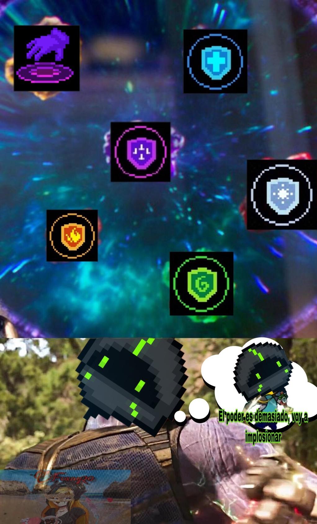 es bien chingon que salgan esos seis potenciadores en una sola partida - meme