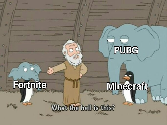 Pubg 2016,minecraft 2011,fornite 2017 - meme