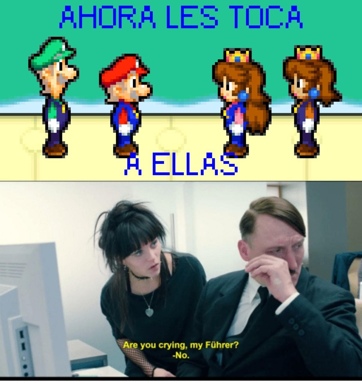 Mario y Luigi les ceden sus aventuras a sus hijas. Las suyas ya han acabado - meme