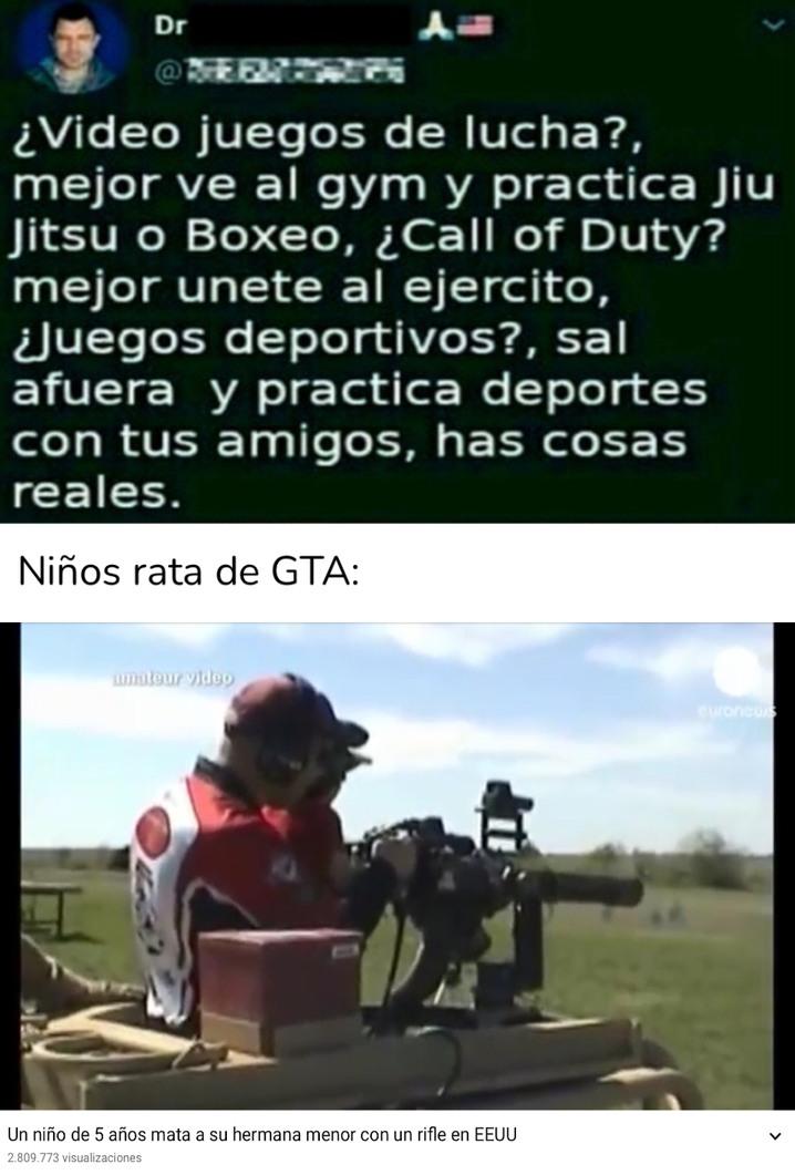 No digo que todos los que juegan GTA sean ratas. De hecho, yo juego. - meme