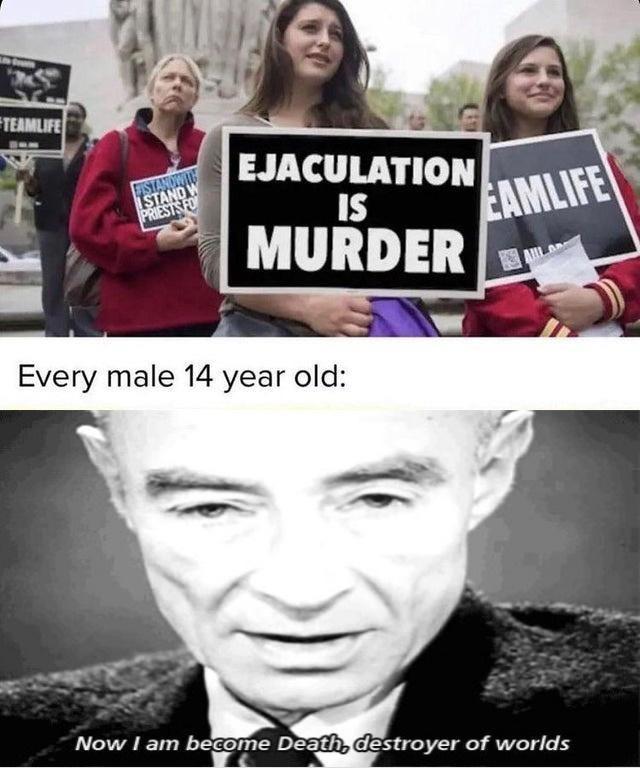 Ejaculation is murder - meme