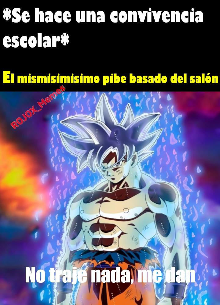 Goku. (para el que no sepa convivencia escolar es donde se lleva comida para compartir) - meme