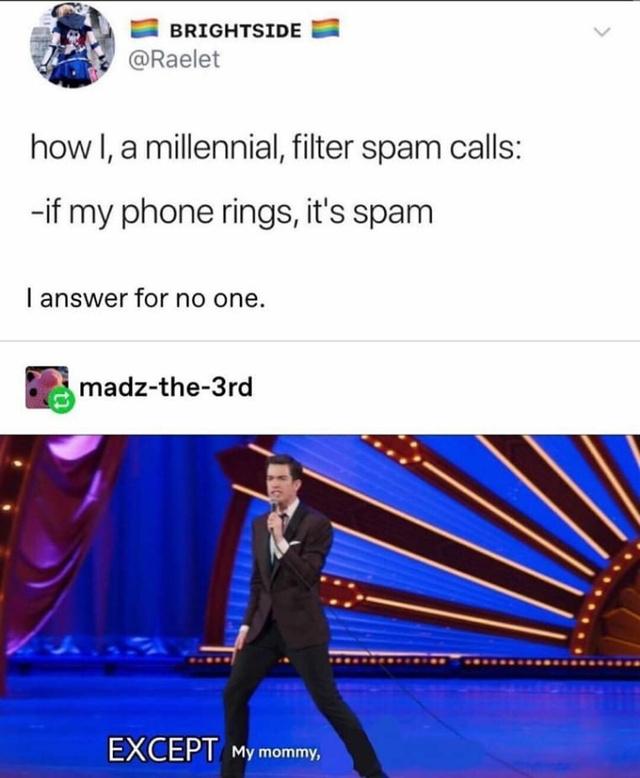 How I, a millennial, filter spam calls - meme