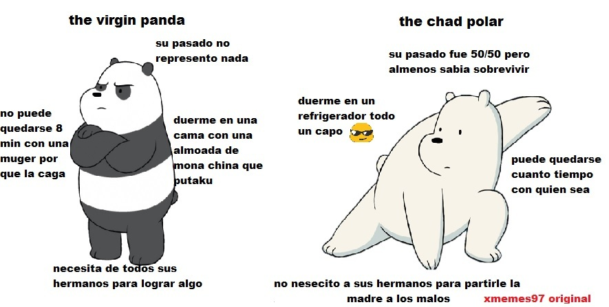 chad vs vigin versión escandalosos - meme