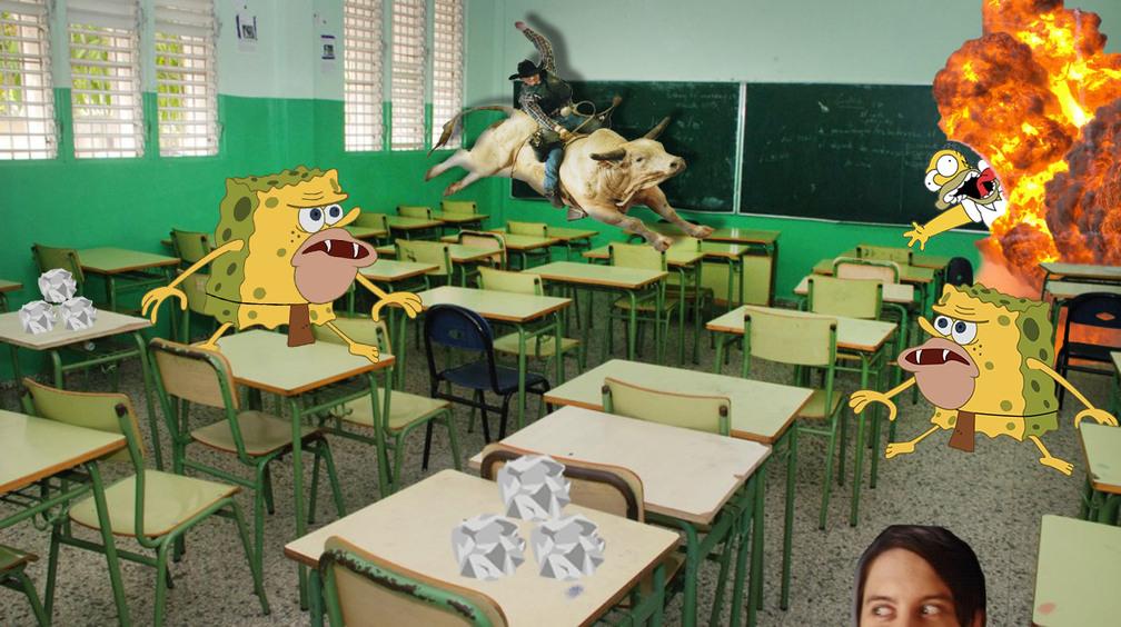 Cuando el profesor se va 5 minutos - meme