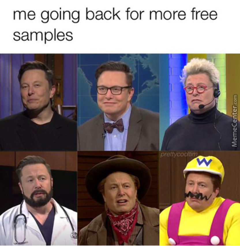 When they give free samples at the mall - meme