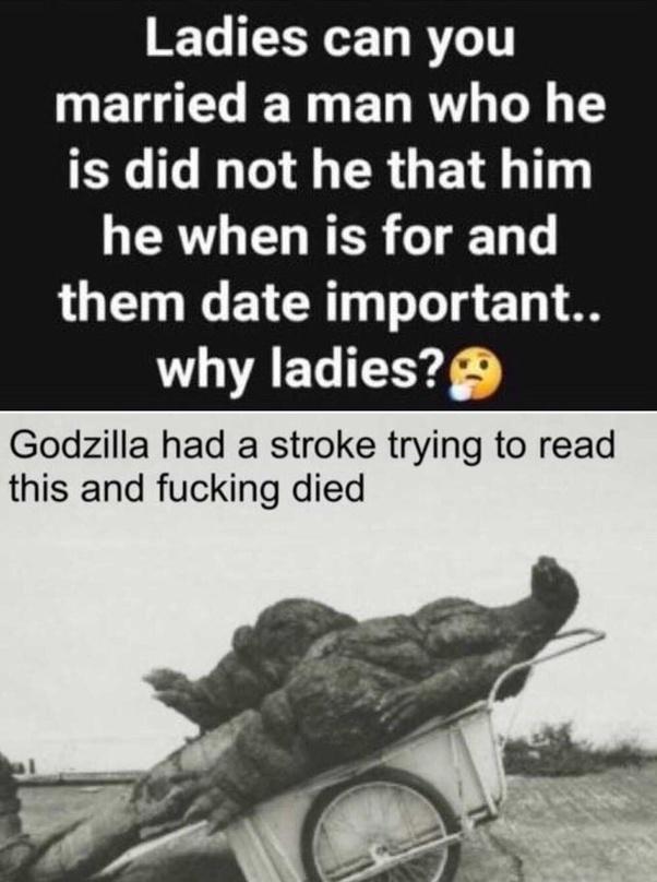 Godzilla had a stroke and died - meme