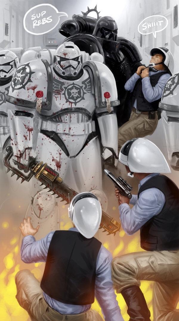 Warhammer 40k < Star Wars - meme
