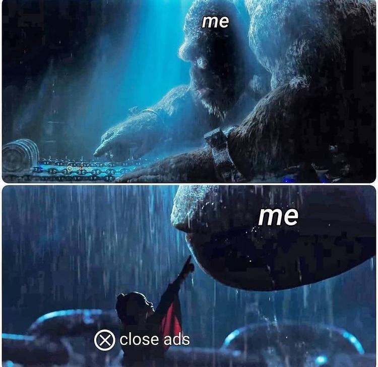 close ad button - meme