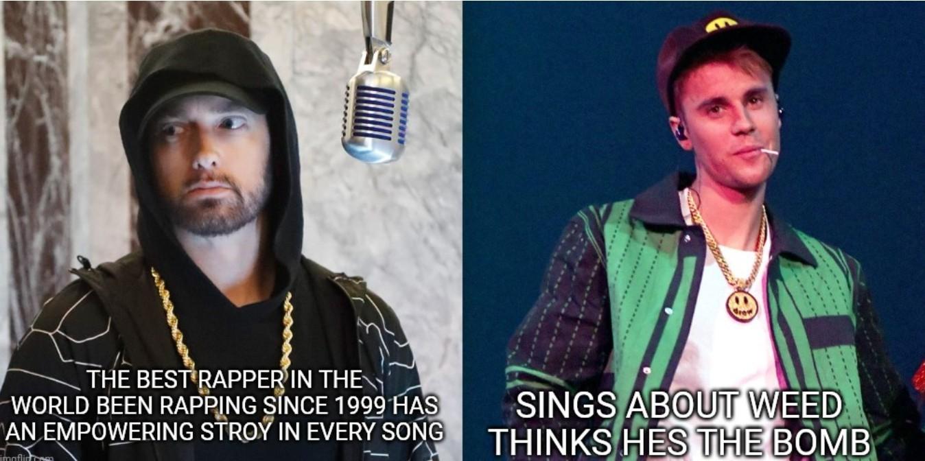 Eminem VS. Justin bieber (look at tag) - meme
