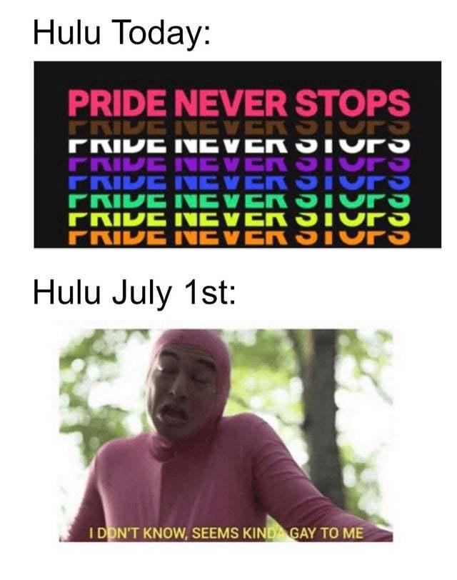 Hulu stopped pride - meme