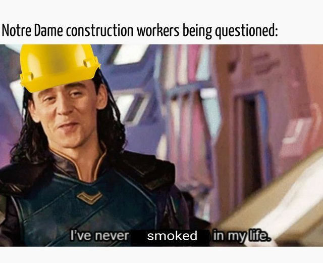 Notre Dame construction workers being questioned - meme