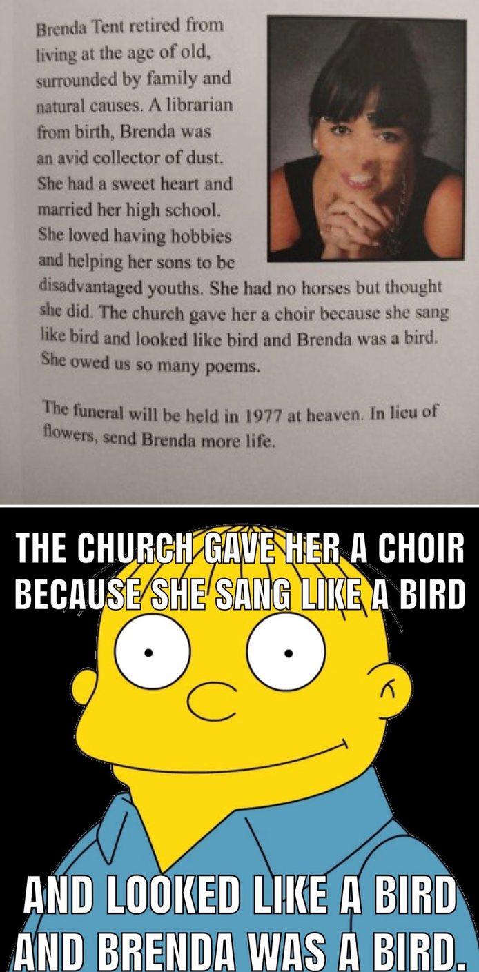 Brenda was a bird - meme
