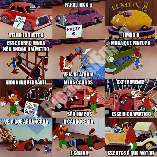 Carros do pica-pau - meme
