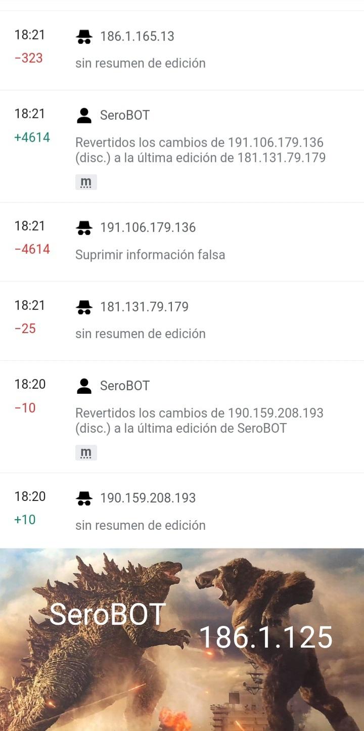 Contexto: Son editores de Wikipedia peleando en la pagina de las protestas de colombia - meme