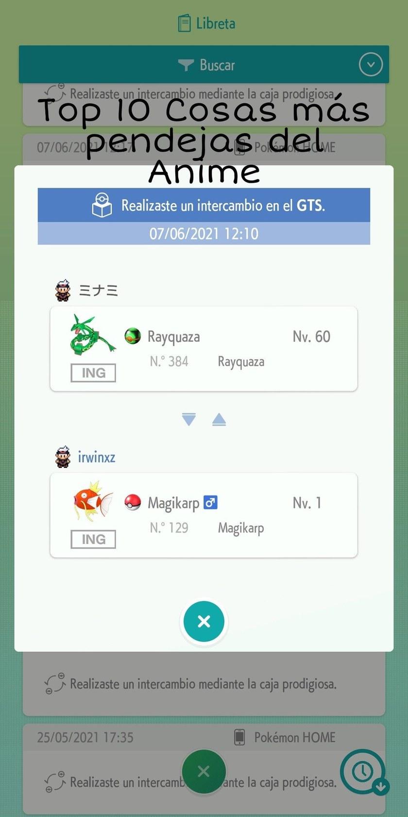 Contexto: en esta aplicación puedes enviar tus Pokémon de otros juegos y cambiarlos y reducirlos en otro juego - meme