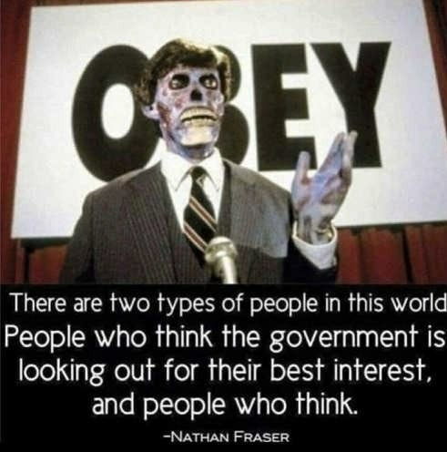People who distrust government are wolves among sheep - meme