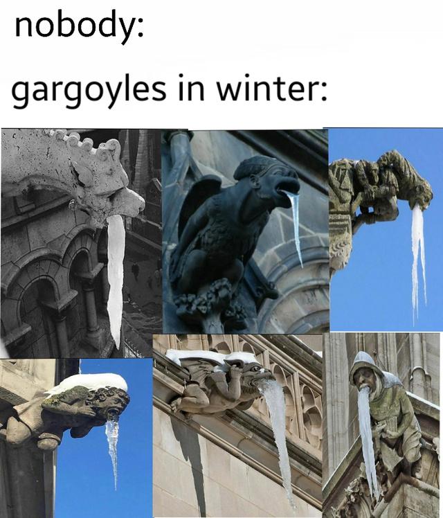 Gargoyles in winter - meme