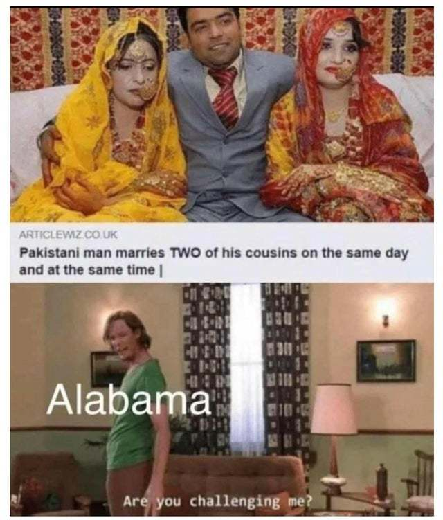 Pakistani man marries two of his cousins on the same day. - meme