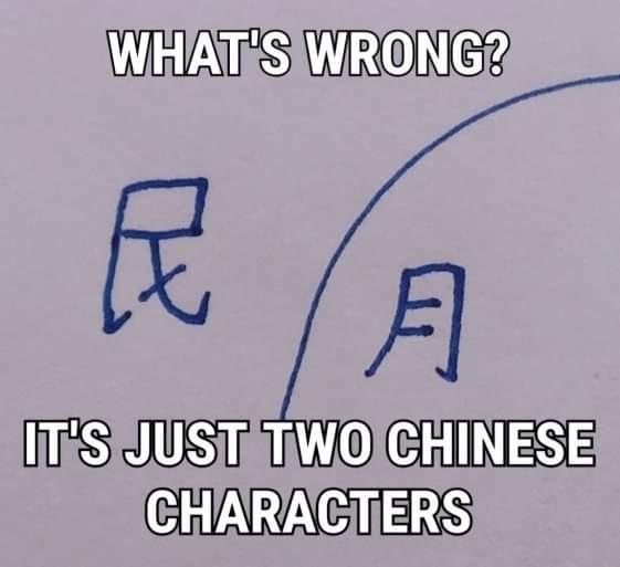 Que esta mal?        Solo solo son dos caracteres chinos - meme