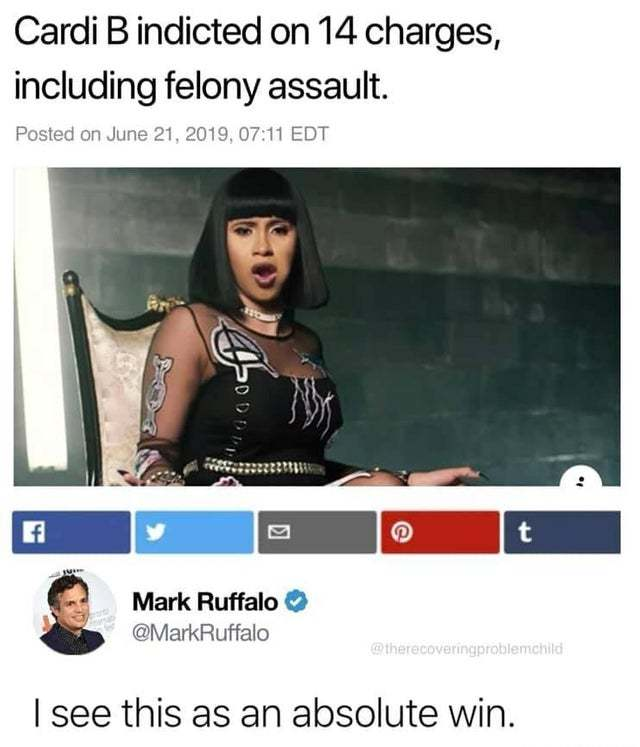 Cardi B indicted on 14 charges including felony assault - meme