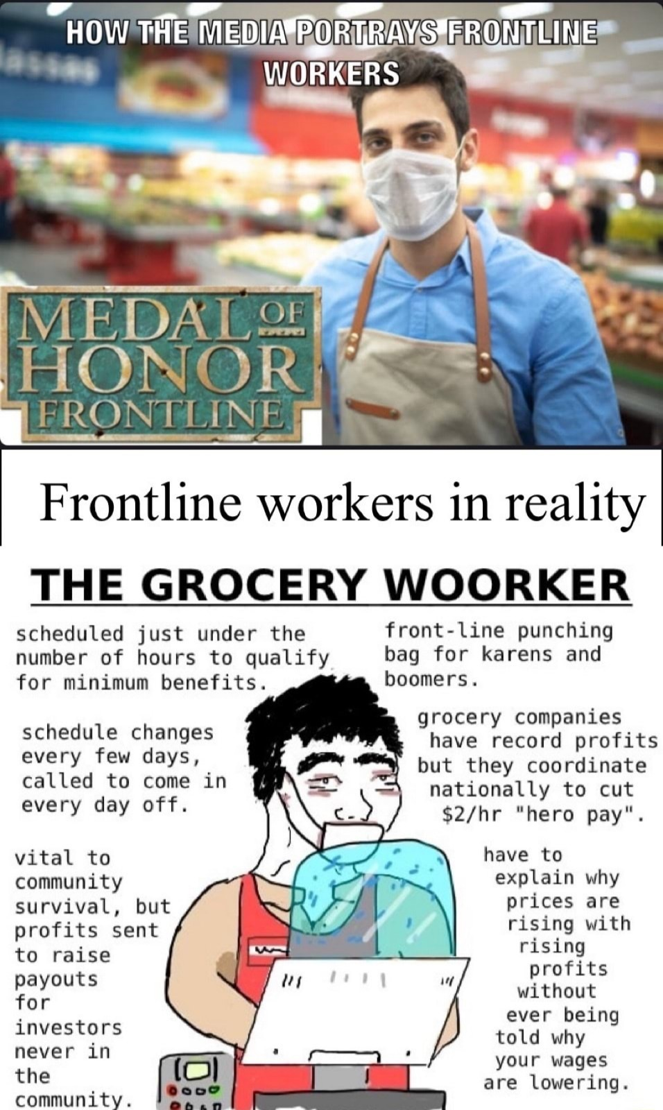 Not just limited to grocery workers - meme