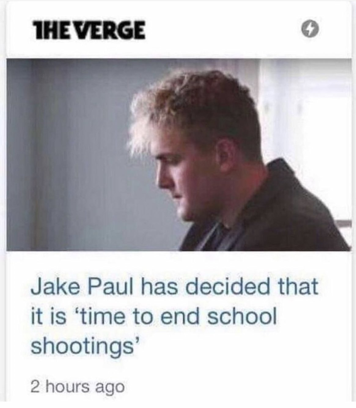 And now school shootings are over. Than you Jake Paul, for your decision - meme