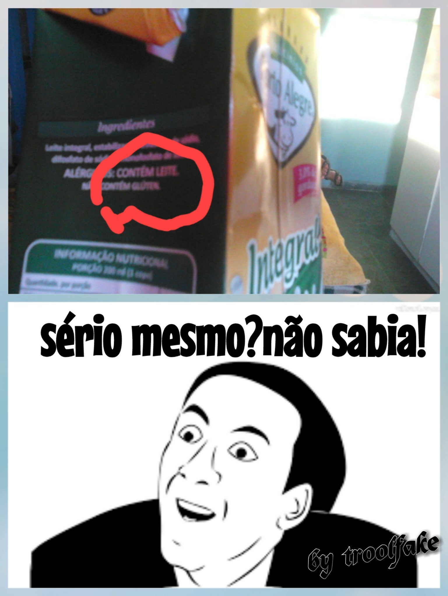 Titulo foi ver se tem leite mesmo(quem n consegue ler esta escrito: contem leite). - meme