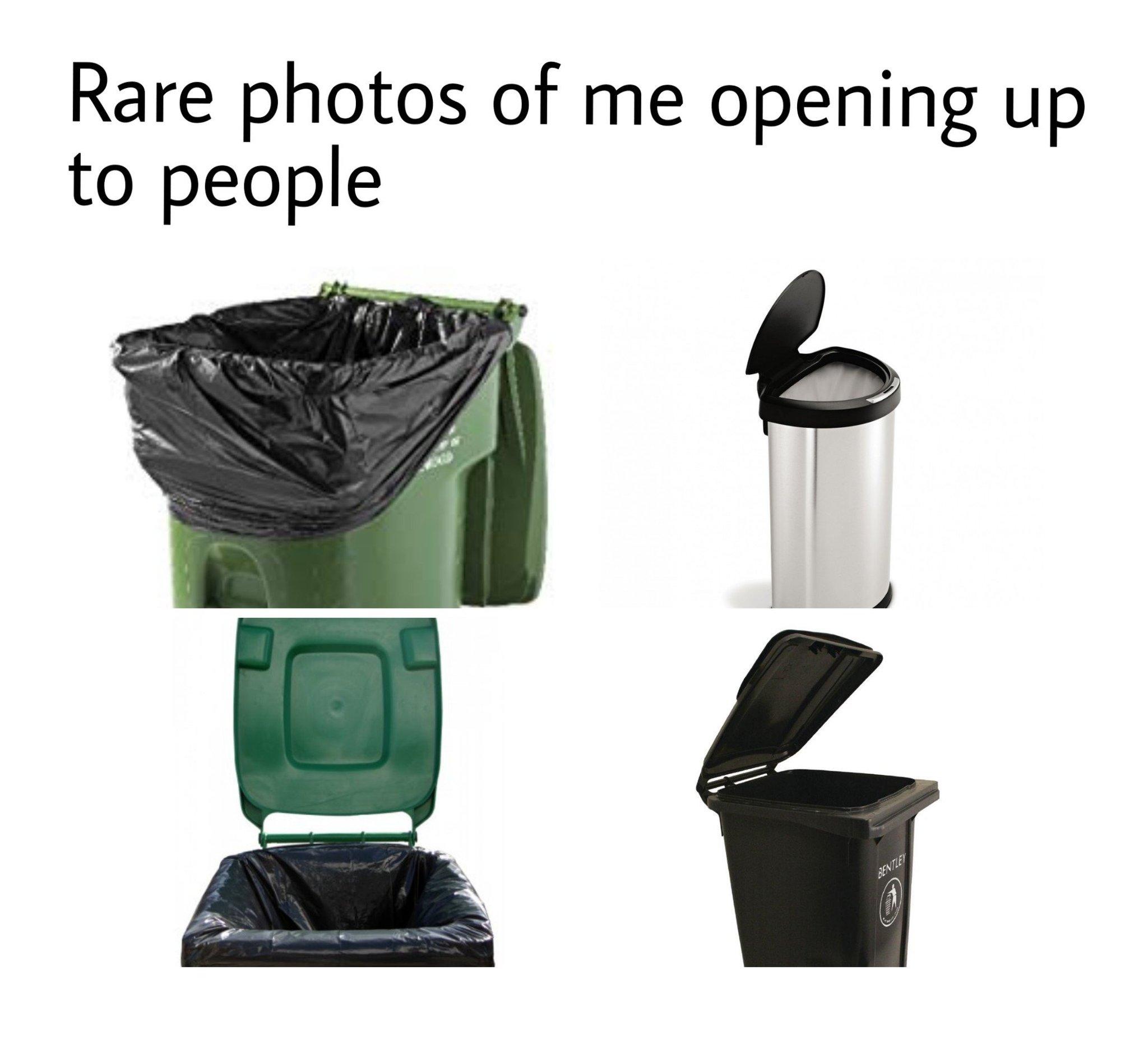 I'm even a trash can't - meme