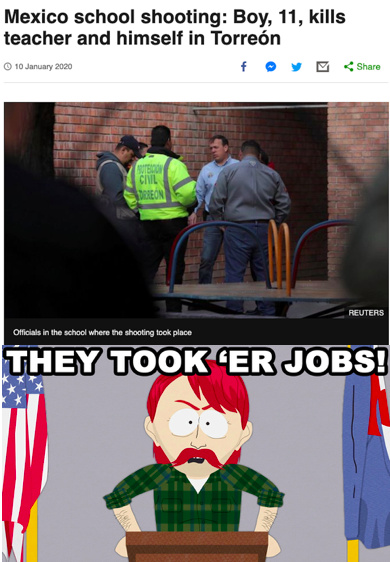 That should have been an American shooter dammit. THEY TOOK ER JOBS!!!!! - meme