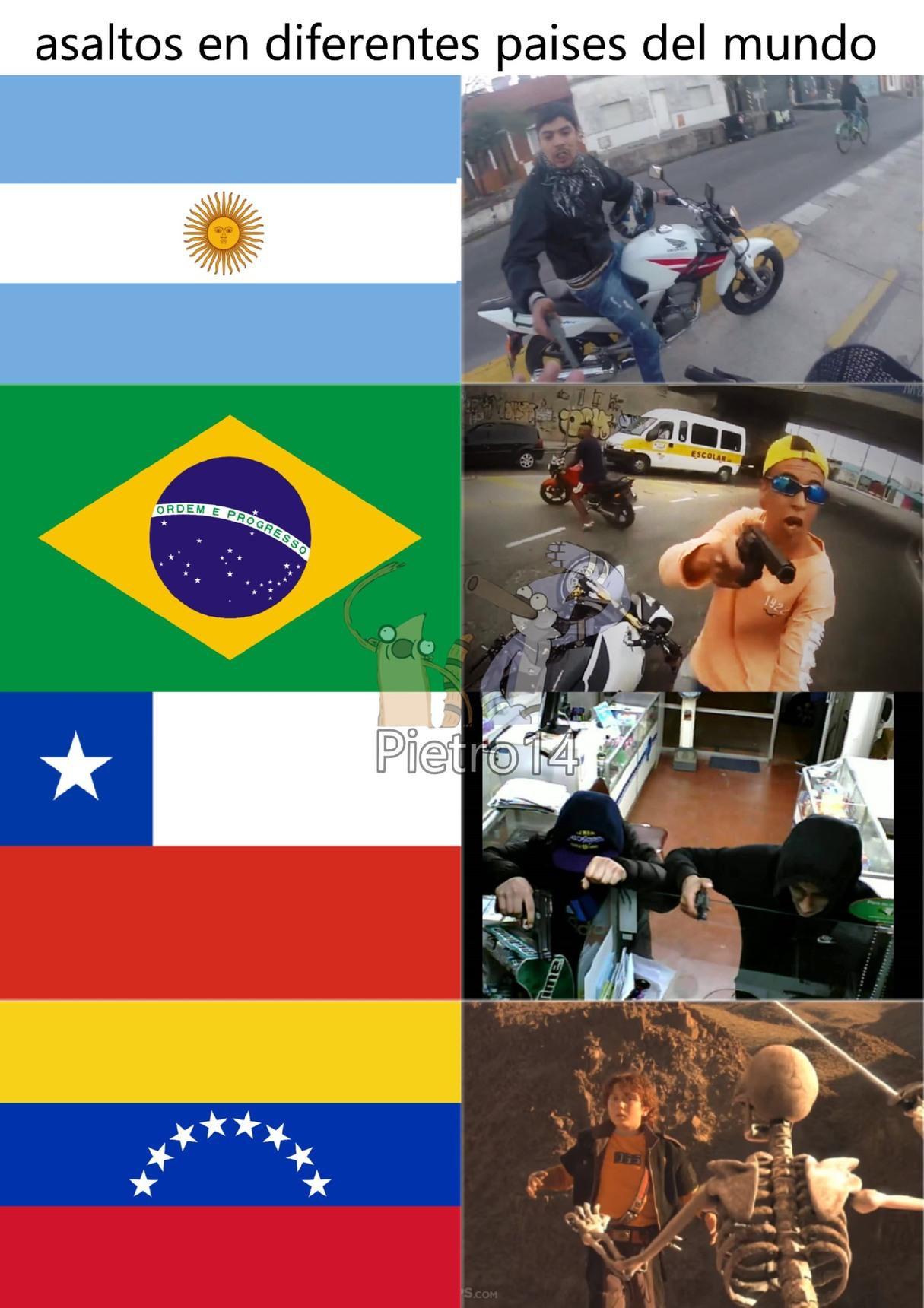 asaltos en diferentes paises del mundo - meme