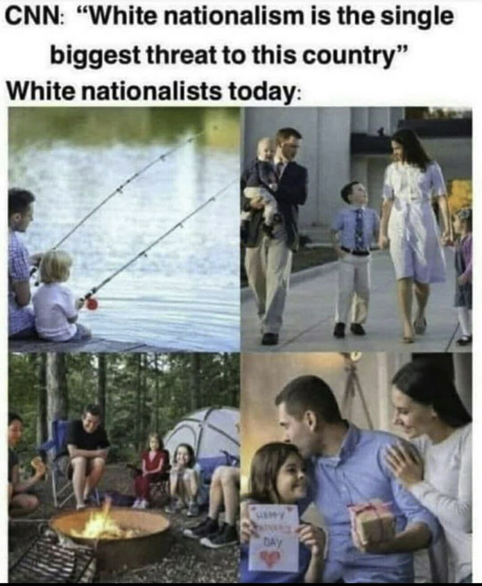 White + nationalism = enemy of the state - meme