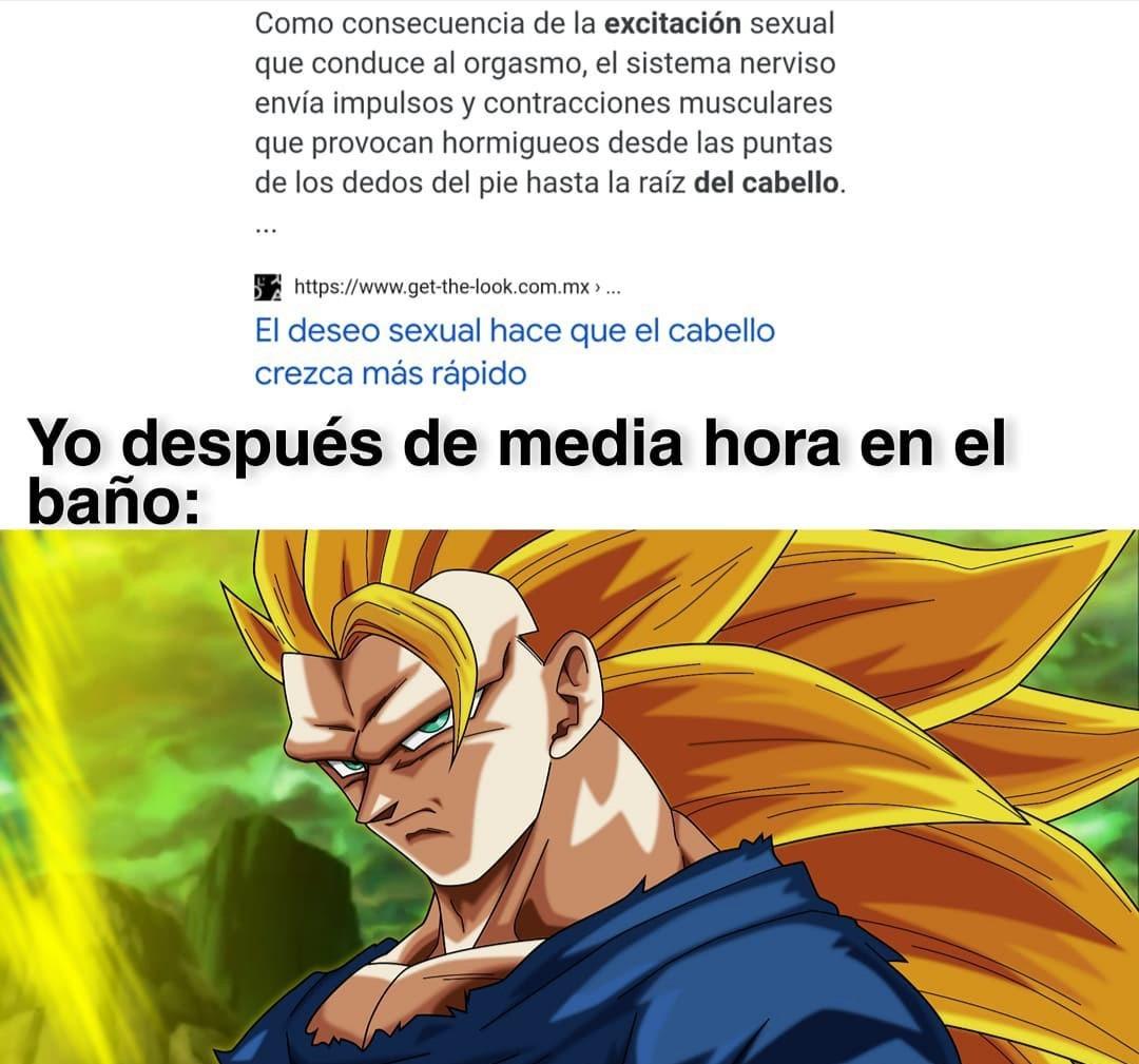 Se imaginan que Goku se haya convertido en Super Saiyajin al pensar en Freezer desnudo y excitarse demashiado? Seguro su pelo dorado es porque su orina también se subió al cabello u.u - meme