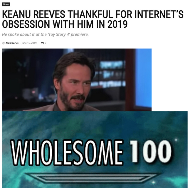 Keanu Reeves thankful for Internet's obsession with him in 2019 - meme