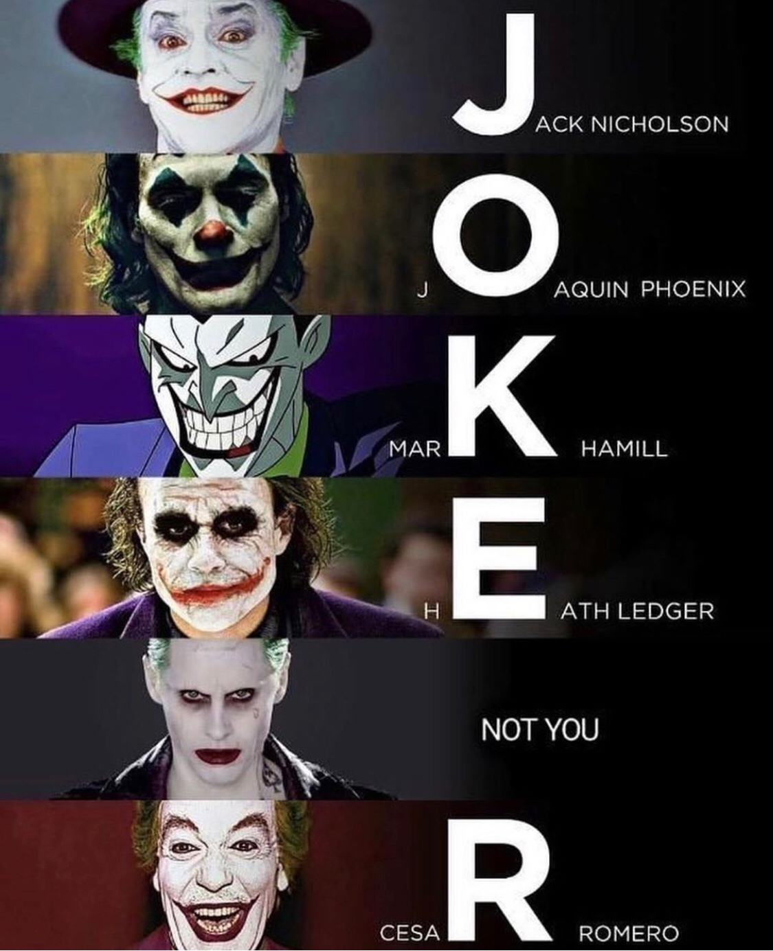 greatest joker actors - meme