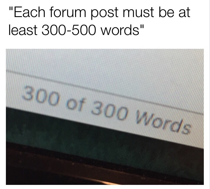 Every comment must be at least 3-5 words - meme