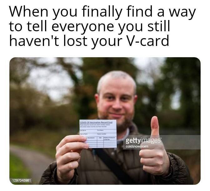 Holographic V-card - meme
