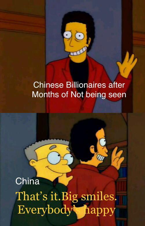 Chinese Billionaires after months of not being seen - meme